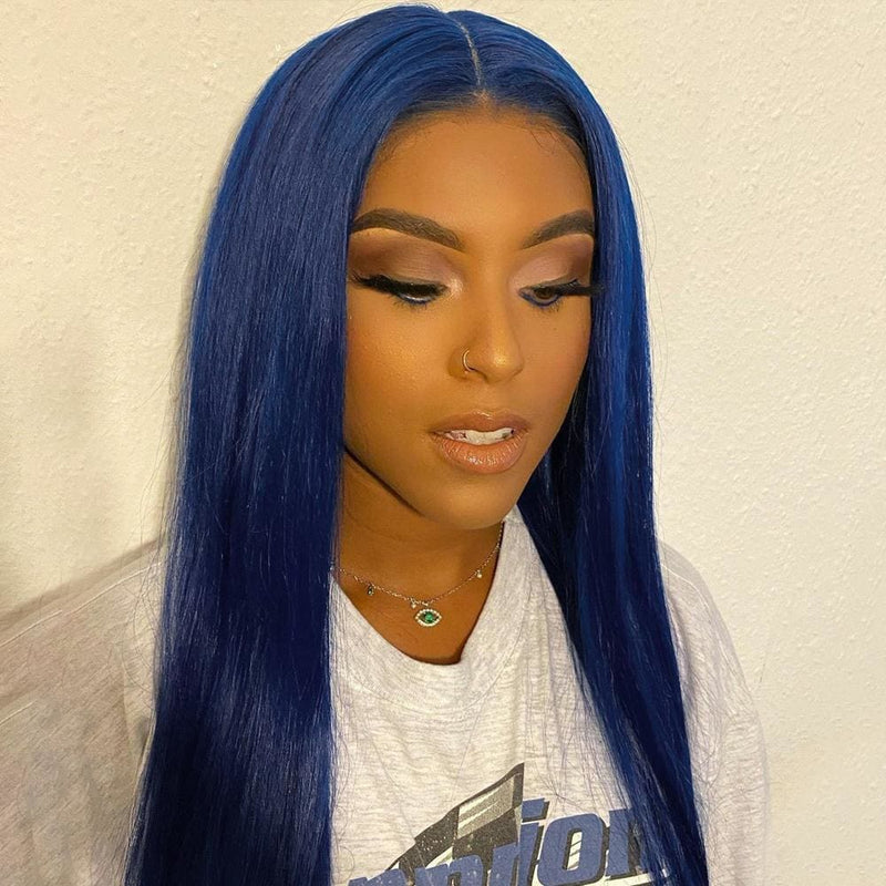 Ami 13*6 ELECTRIC BLUE Natural Straight Lace Front Wigs