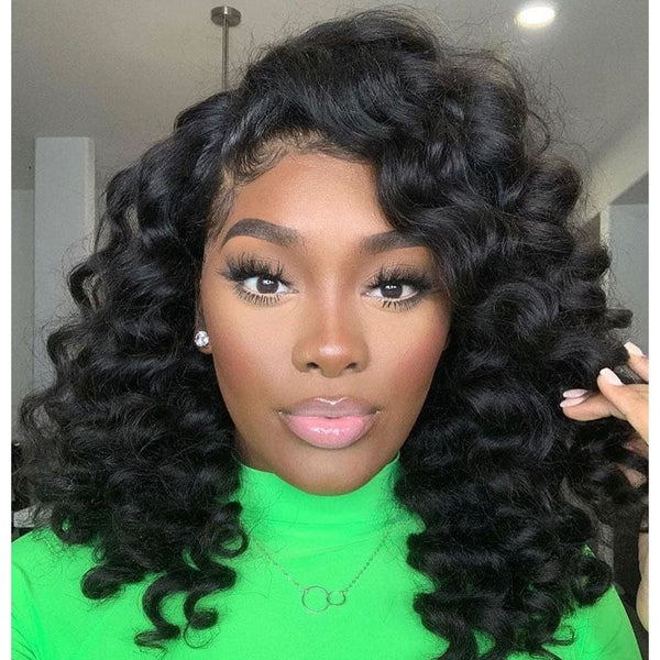 Andrea Deep Wave Short Bob Wig 360 Lace Front Human Hair Wigs
