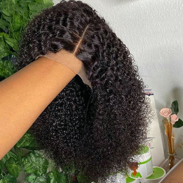 Barbie Swiss Lace 150% Hide Lace+ Hide Knots 13x6 Kinky Curly Bob Wig