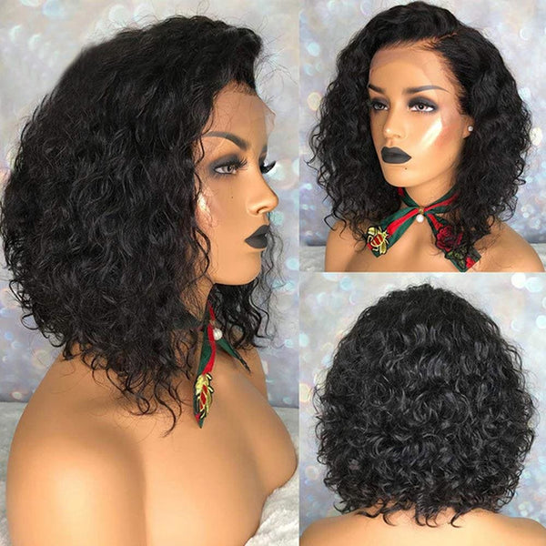 Charlotte Full Lace Wig Water Wave Bob wig Natural Color Human Hair