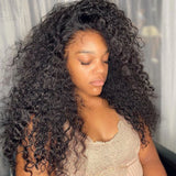 Crystal Deep Curly Full Lace Human Hair Wigs Natural Color Brazilian Human Virgin Hair Free Part Lace Wigs