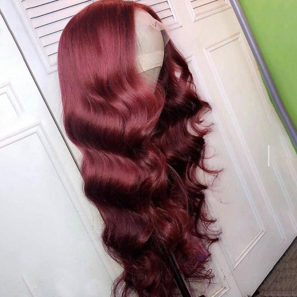 Delia 13X6 BURGUNDY BODY WAVE HUMAN HAIR WIGS - Burgundy