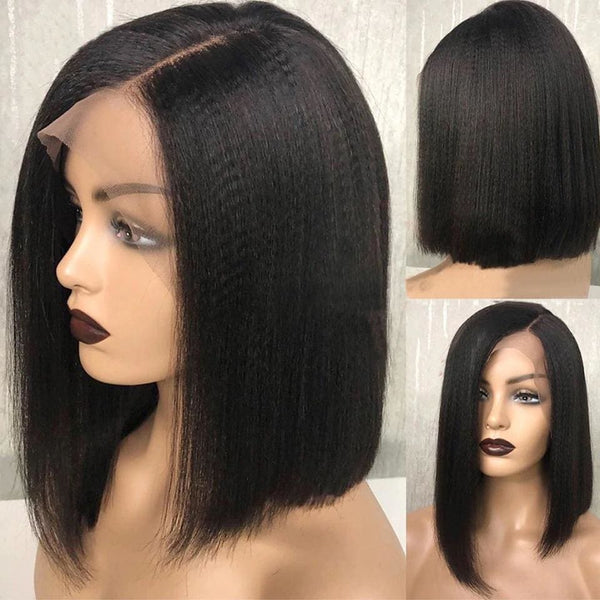 Eartha Yaki Straight Short Bob Wig 360 Lace Front Human Hair Wigs
