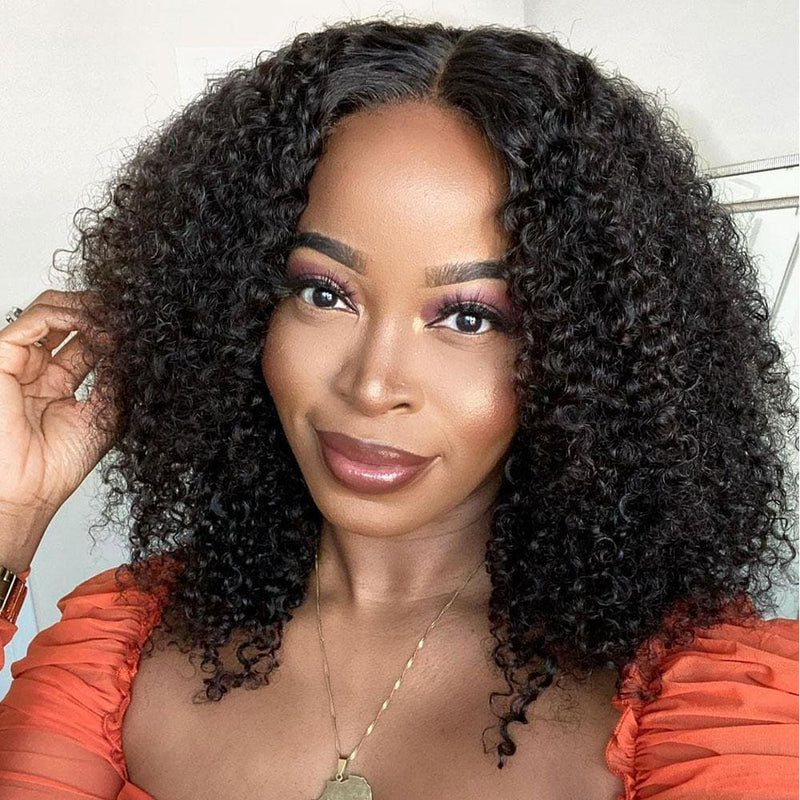 Ella Preplucked Hairline Kinky Curly 13*4 Lace Front Wig Human Hair Wig