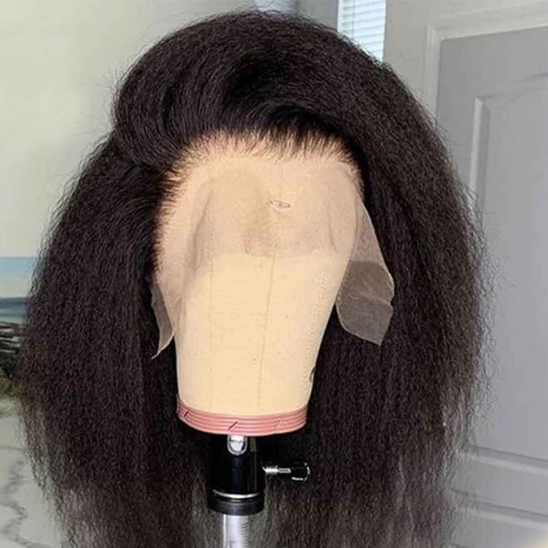 Erin 13x6 Lace Front Wig Kinky Straight Short Bob wig Natural Color Human Hair