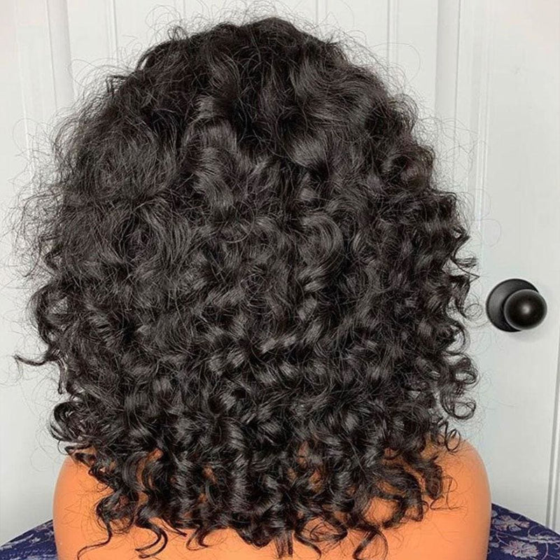 EVELYN PREPLUCKED HAIRLINE CURLY WITH BANG HUMAN HAIR 360 LACE FRONT WIG