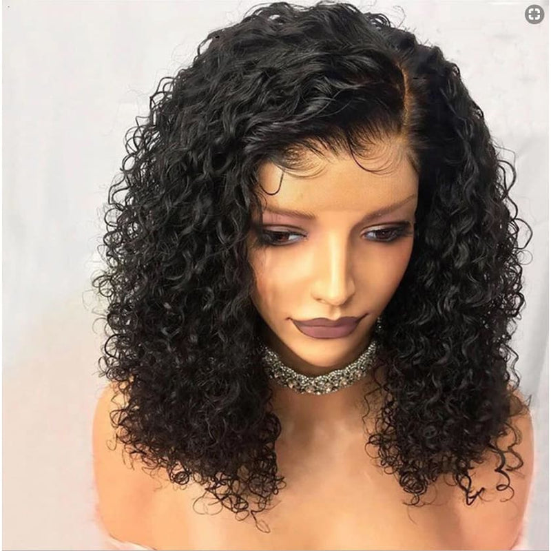 Mya 13x6 Lace Front Wig Curly Wave Short Bob wig Natural Color Human Hair