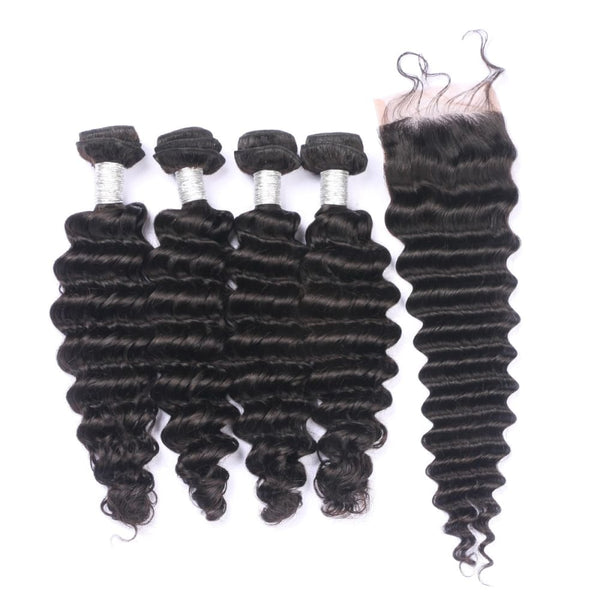 Natural Wave 4 Bundles With 4*4 Lace Closure 100% Virgin Human Hair
