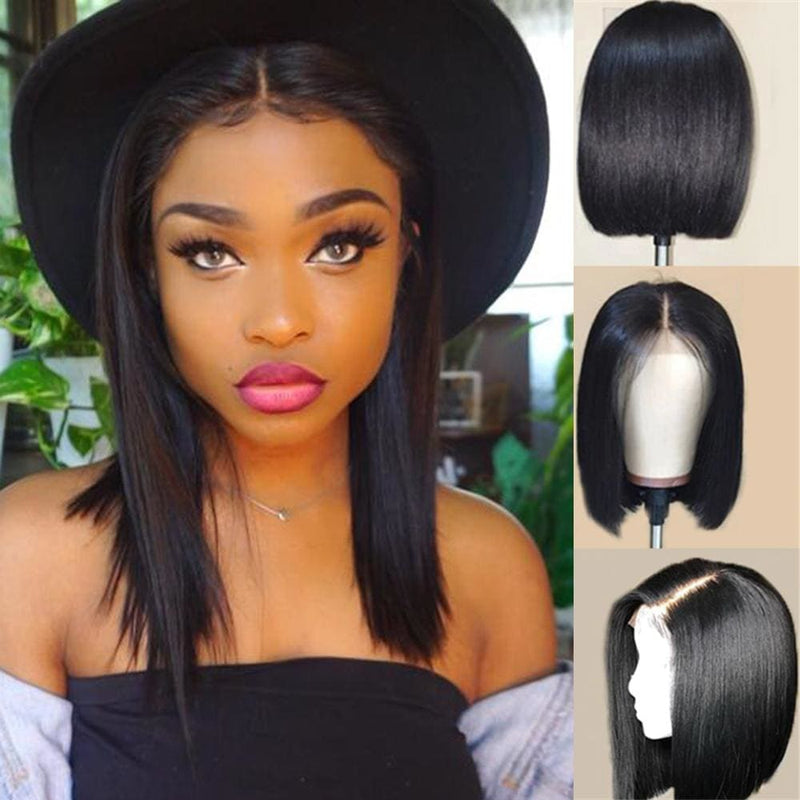Nicole Silky Straight Short Bob Wig 360 Lace Front Human Hair Wigs