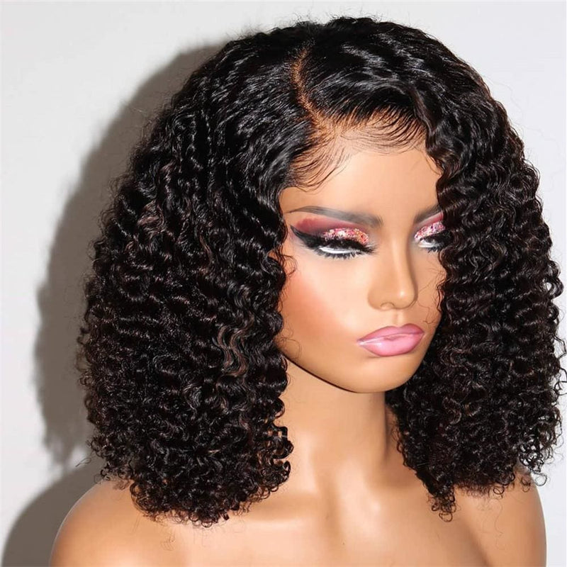 Phoebe Kinky Curly Short Bob Wig 360 Lace Front Human Hair Wigs