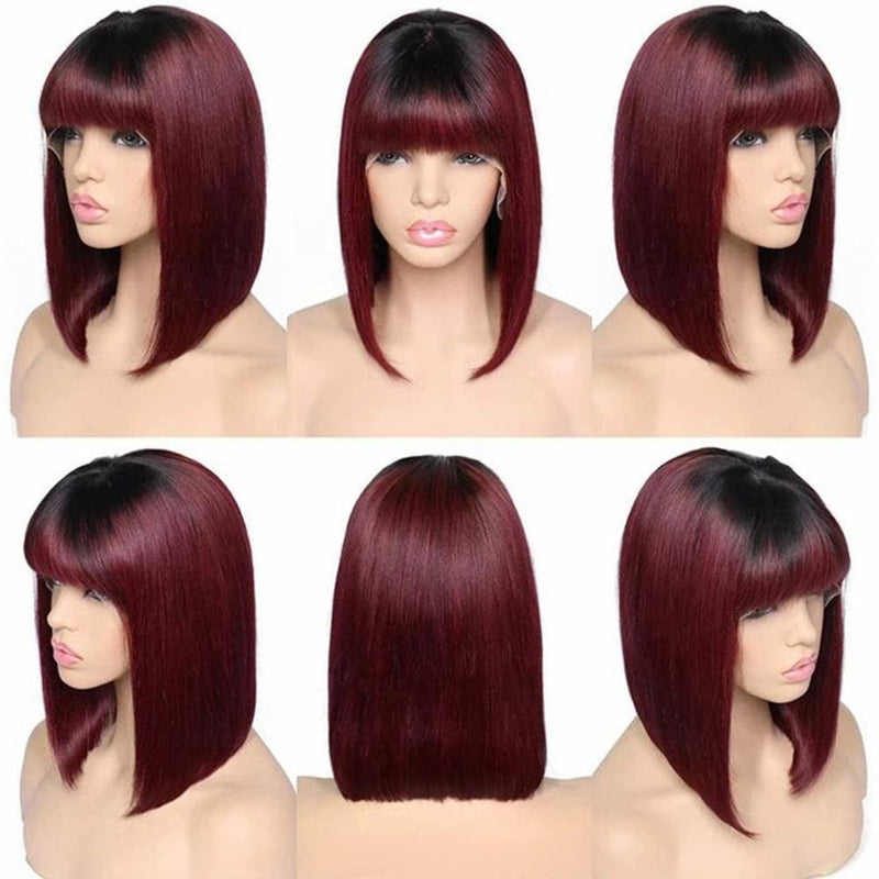 Rose 99J 13x6 Lace Front Wig Straight Short Bob wig With Bang