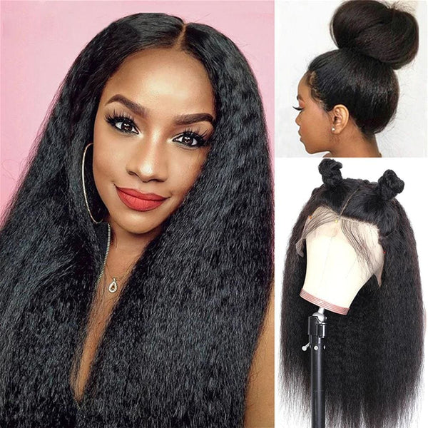 Serene Preplucked Hairline Kinky Straight Human Hair 360 Lace Front Wig