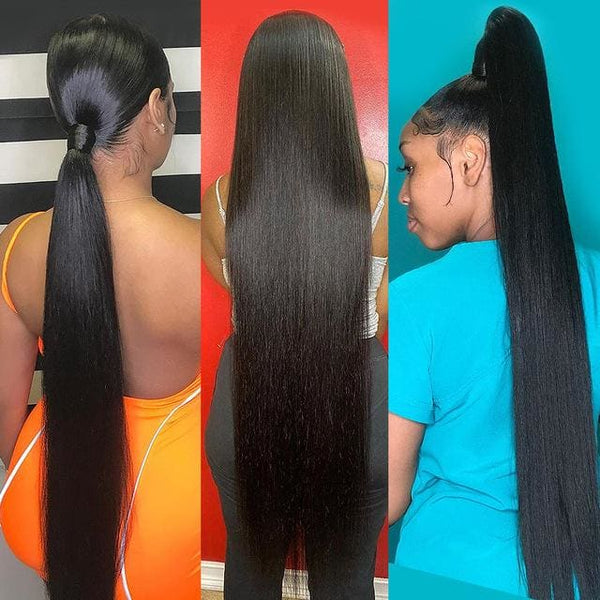 Straight Hair 3 Bundles Long Weave 30-40 Inches Brazilian Virgin Hair