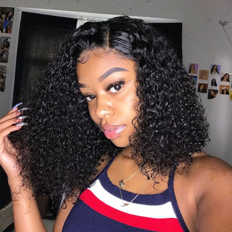 Violet Full Lace Wig Deep Curly Bob wig Natural Color Human Hair