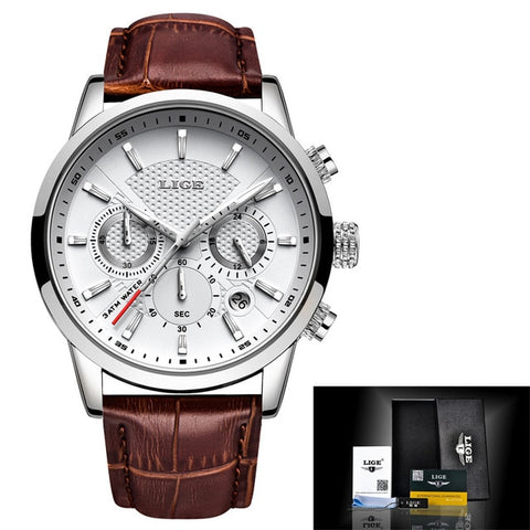 LIGE Brand Men's Leather Luxury Watch