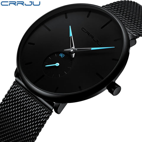 CRRJU Brand Men's Slim Mesh Steel Waterproof Sport Watch