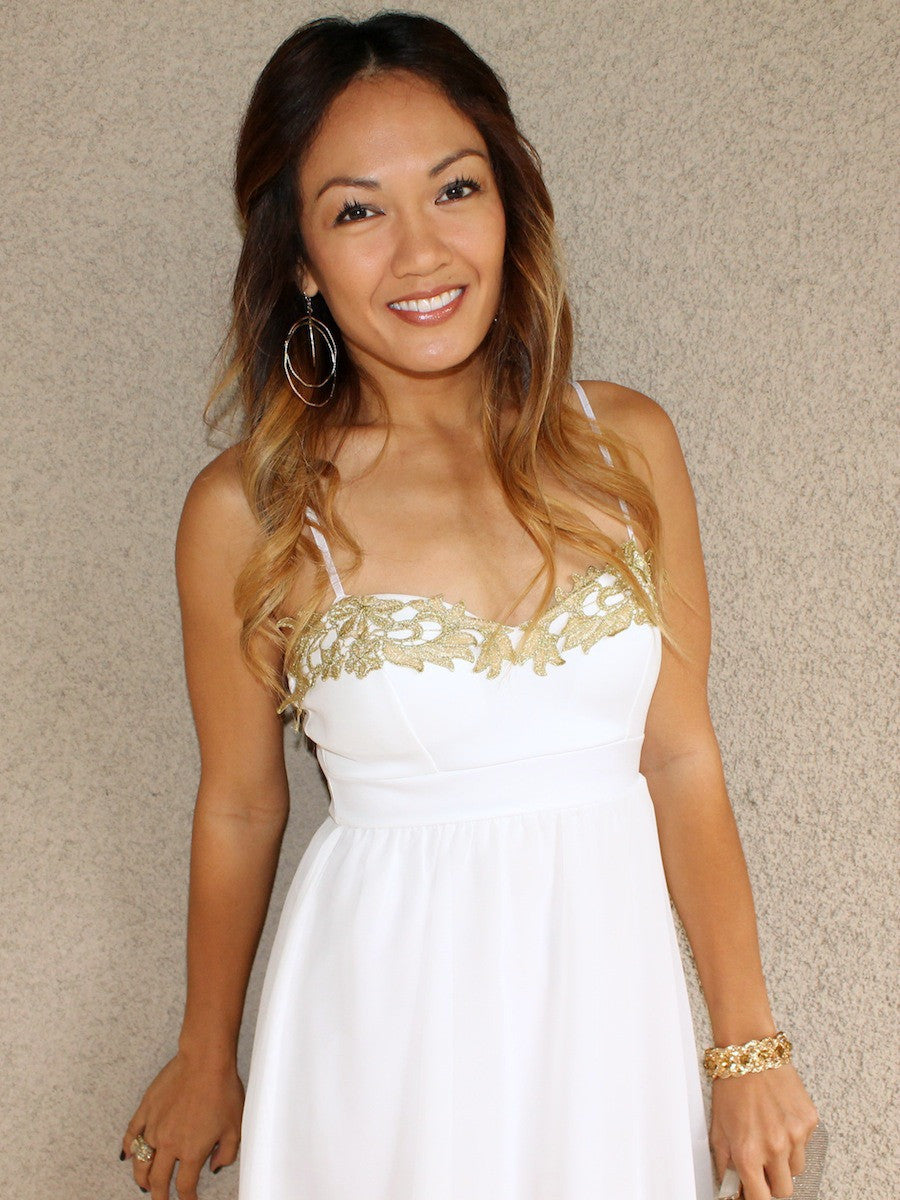 Cute Gold Leaf Detail Babydoll Dress in White | Cocktail Dress ...