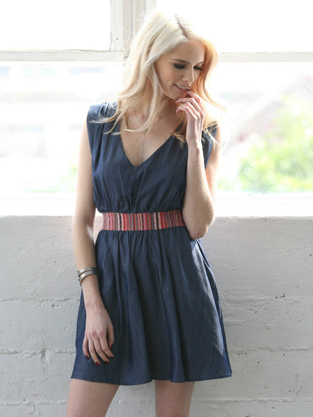 b11c7d4a116 denim chambray dress with woven aztec print waist and cross back