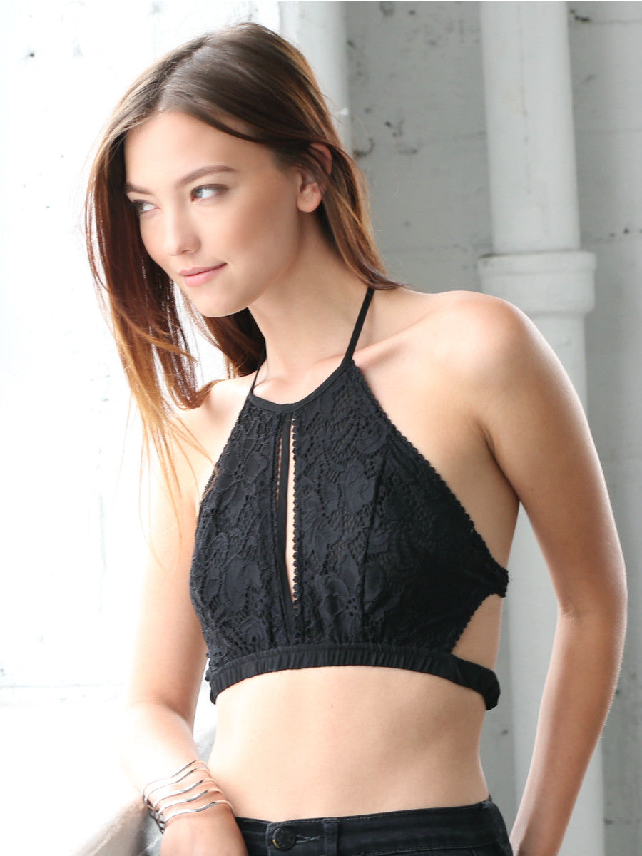 14040a9a98c619 Double Take Lace Crop Top (Black) - Social Butterfly House