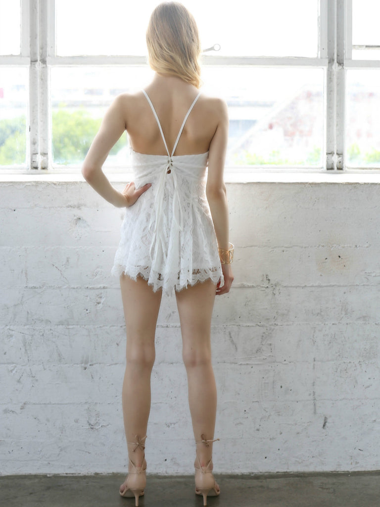 c9ee6853a3e5 White Muse Lace Romper - Social Butterfly House