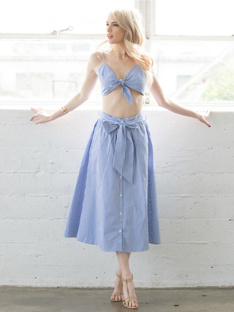 7431b9b88f Blue and white striped two piece skirt and top - Social Butterfly House