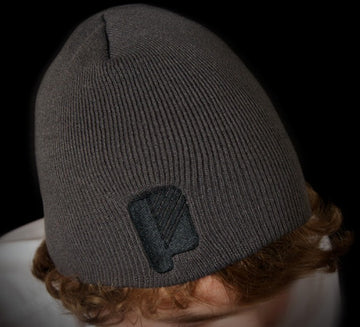 P Logo Charcoal Skull Fit Beanie