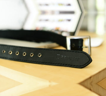 Primary Buckle Up Black Leather Belt