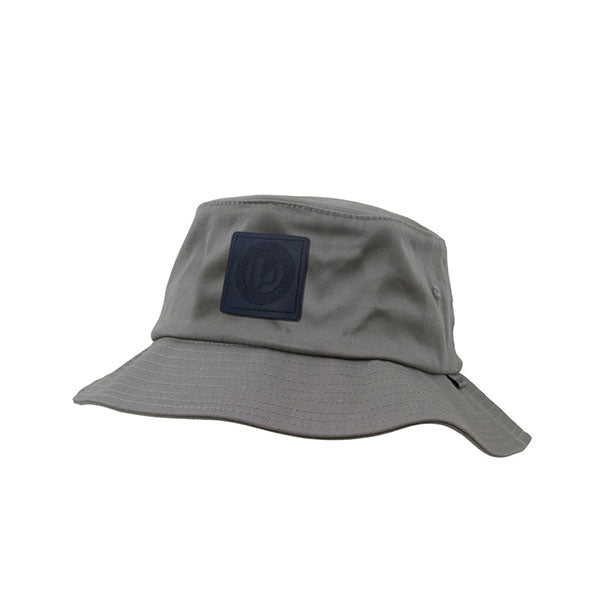 Leather Patch Bucket Hat Grey