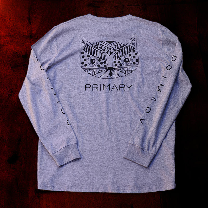 Primary Kitty Tee Grey Marle (LS)