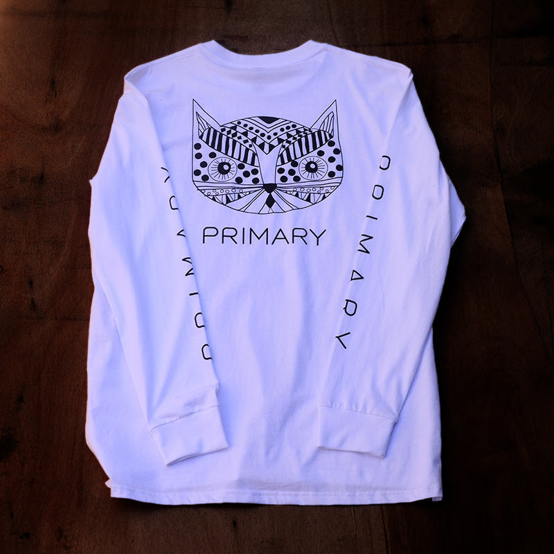 Primary Kitty Tee White (LS)