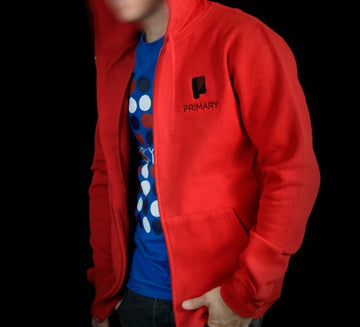 Primary Logo Red Zip Hood
