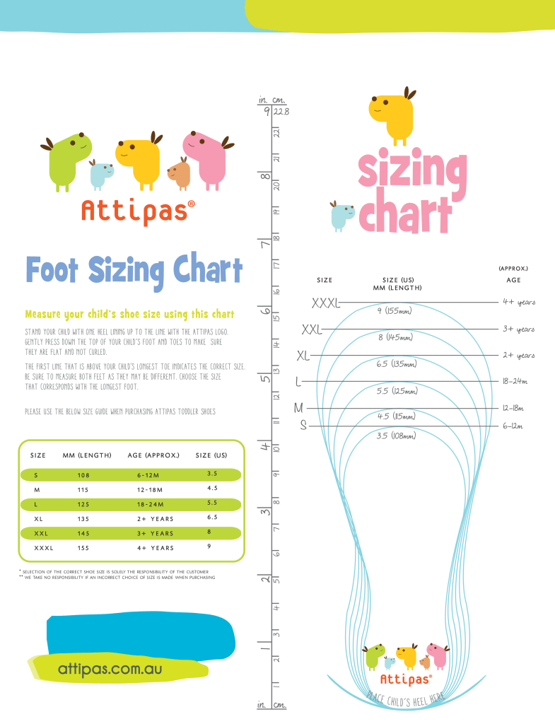 Attipas Baby and Toddler Shoes Foot Sizing Chart