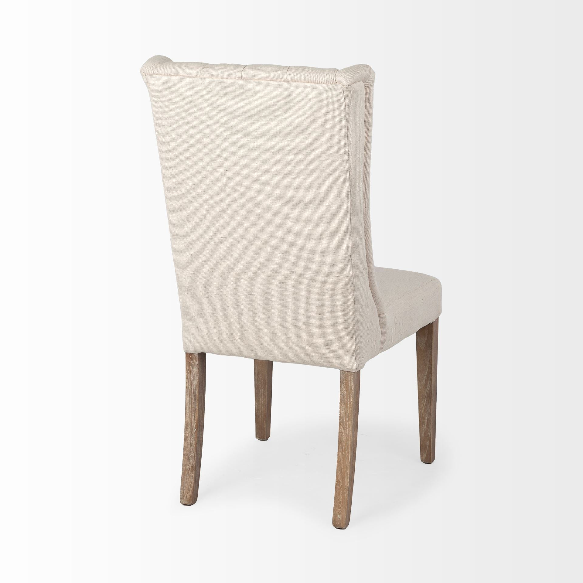 Jimelle Dining Chair Beige Featuring Plush Linen Seating With A Tufted Back