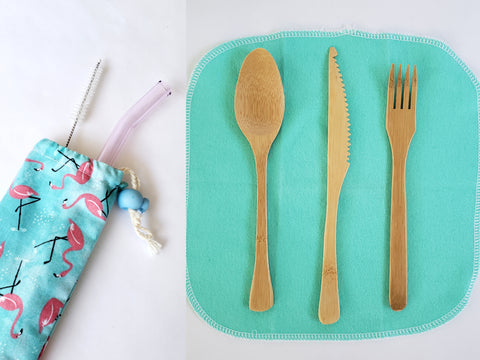 Utensil Bag with Glass Straw & Bamboo Utensil Set