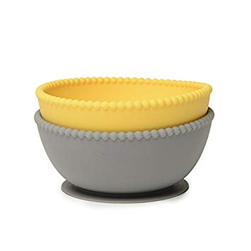 Chewbeads Silicone Bowl Set, Grey/Yellow