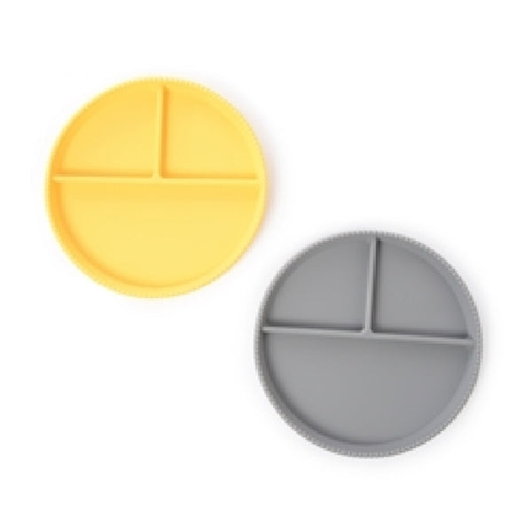 Chewbeads Silicone Plate Set, Grey/Yellow