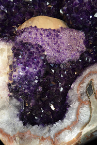 AMETHYST GIANT OVAL GEODE WITH CALCITE