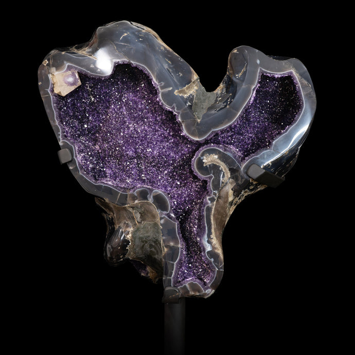 DARK AMETHYST GEODE with AGATE
