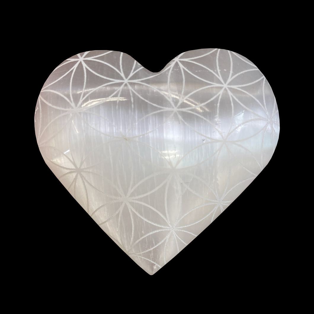 SELENITE FLOWER OF LIFE ENGRAVED HEART