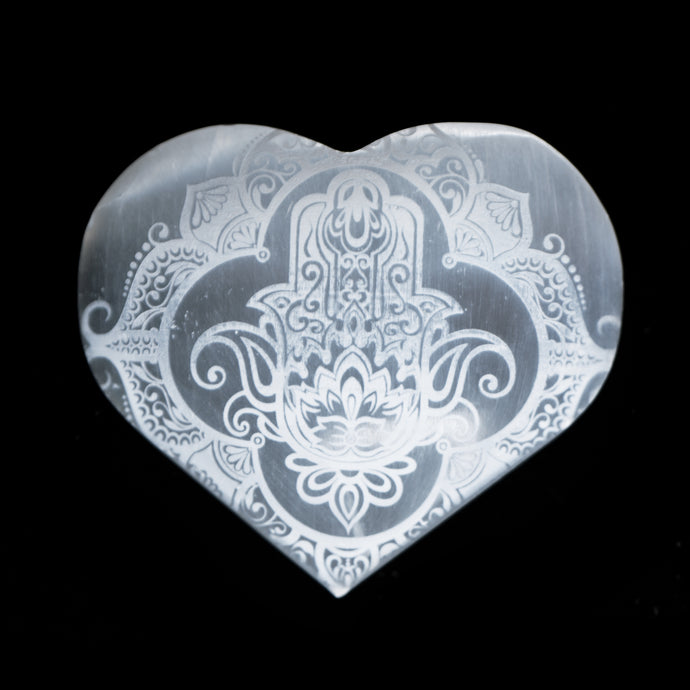 SELENITE HAMSA ENGRAVED HEART