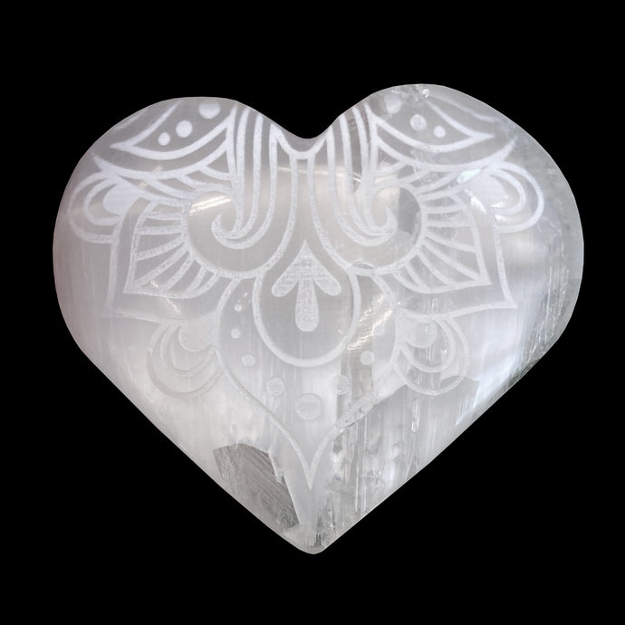 SELENITE WAY OF THE HEART ENGRAVED HEART