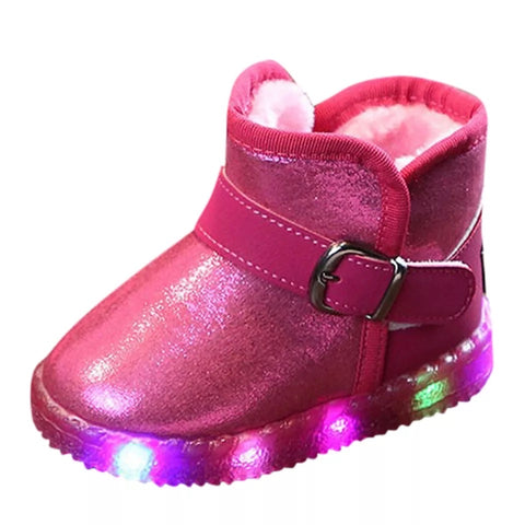 Kids Snow Boots Shoes Baby girls boys boots LED Light Up Luminous fashion Sneakers Winter Warm Children Snow Boot shoes