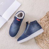 Top Warm Winter Women Denim Jean Fleece Push For Women Winter Casual Shoes