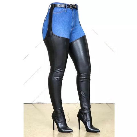 High Quality PU Leather Over Knee Boots Rihanna Style Thigh High Booties