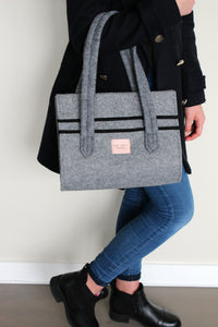 Lucy Mini in Ash Grey with Black