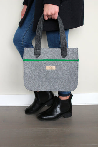 Stella Mini in Ash Grey with Bright Green