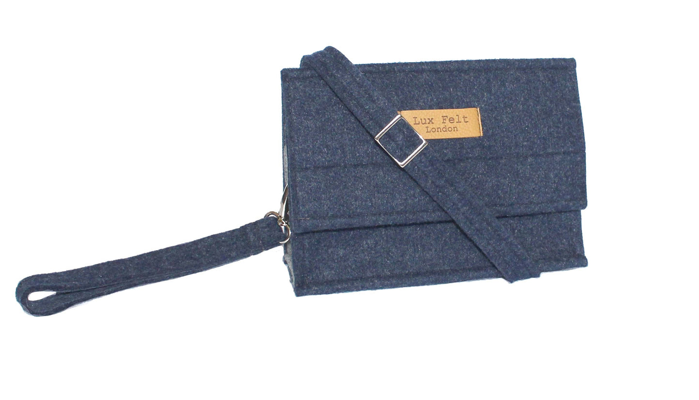 Hannah in Melange Navy | Shoulder bag + Felt strap