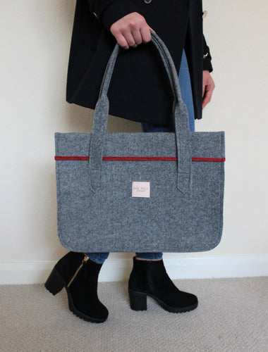 Stella in Ash Grey with Melange Red