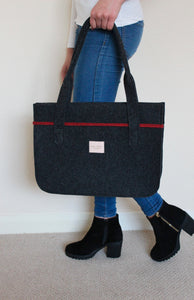 Stella in Dark Grey with Melange Red