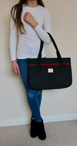 Stella in Dark Grey with Vibrant Red